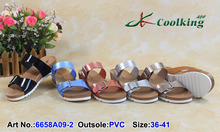 2015 Coolking wholesale women slipper shoes latest design girl nude beach slipper high quality pvc strap for slipper