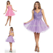 Newest Custom V Neck Beading Sequined Mini Backless Cocktail Dresses 2014 Party Gown