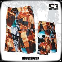 2014 summer short surf pants full printing transparent swimwear men