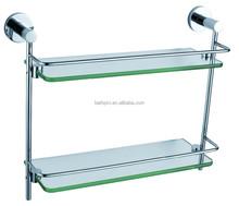 UL 5 years guarantee double layer wall-mounted tempered glass metal shelf (OA2015)