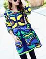 Les femmes plus la taille des vêtements d'automne et d'hiver doodle robe en coton femellmanches longues robe lâche robes