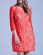 Custom design long sleeve red shift dress new quality plus size lace dress