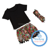 fall colored boutique girl clothing sets of clothes girls boutique sets black shorts with headband