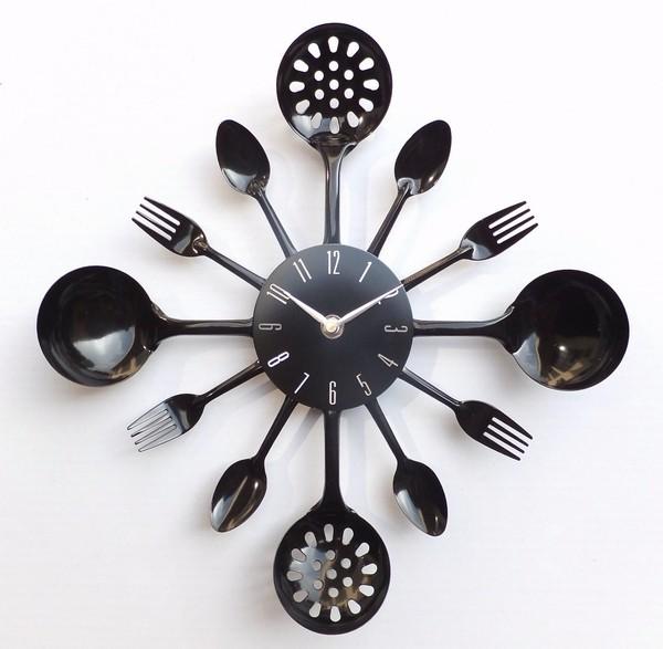 칼 부엌 벽 시계 포크 & 스푼 장식 벽 시계 창조적, 골드-벽 시계 ...