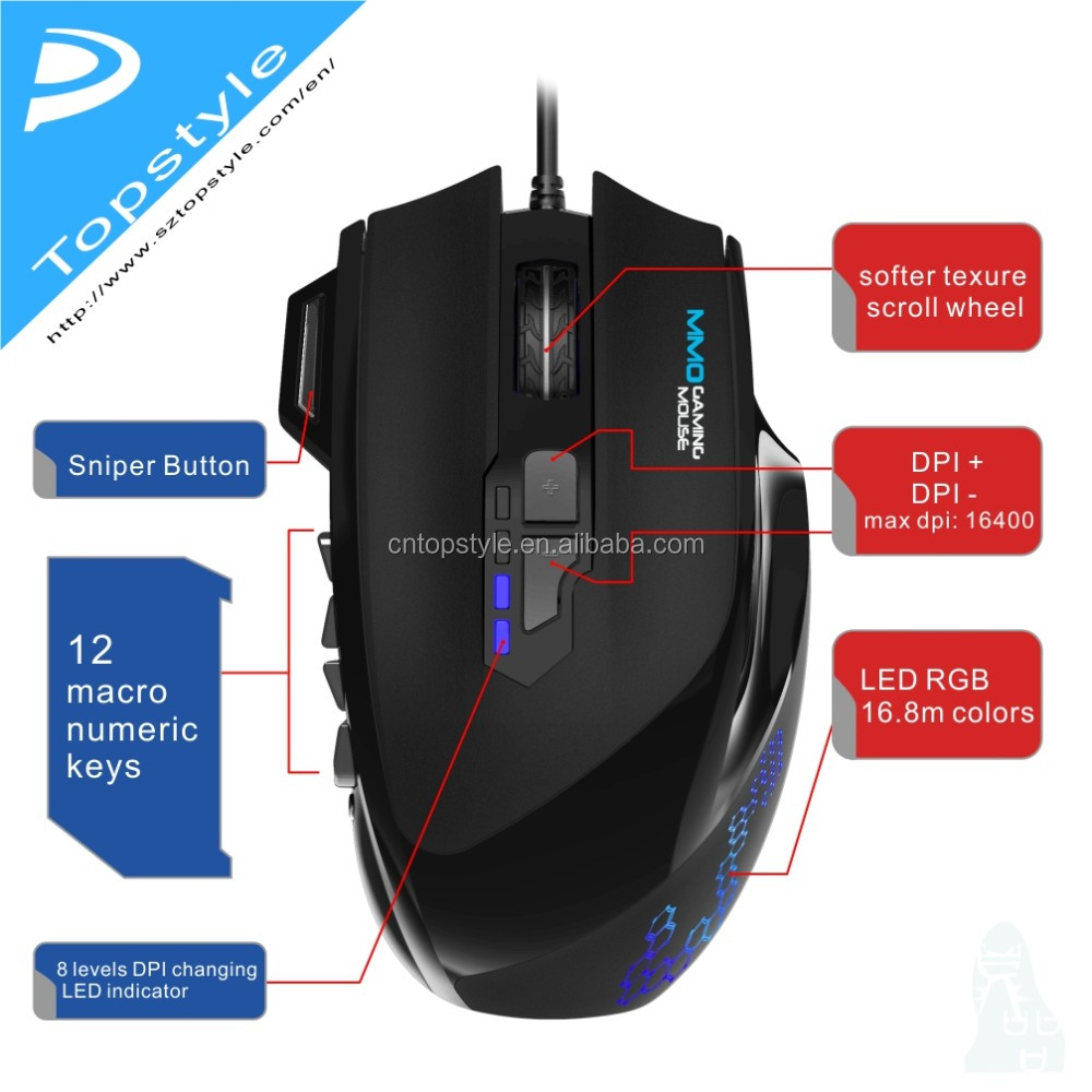 Topystyle Macro Gaming Mouse 2017 New Arrival 20 Marco Keys Mmo 81914 81923