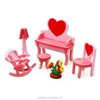 3D Assembling Mini Furniture Dressing Table Wooden Toy DIY Toy