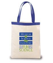 """Made in the USA cotton canvas tote bag. Comes with 18"""" colored poly-web handles and your logo."""