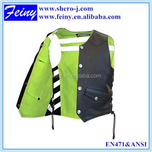 good quality reversible leather motorcycle visible reflective safety vest