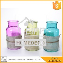 Bottle Shape Colorful Vase Home Decor Mini Glass Vase Blue/Purple/Green