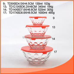 set 4pcs glass bowl with dot design and red lids