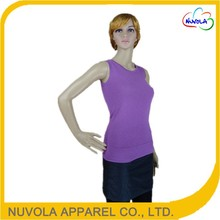 China supplier new product sleeveless slim fitting round neck woman tank top