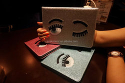 2015 hot selling tablet case cute eyes glitter stand leather sleeve case for ipad Air