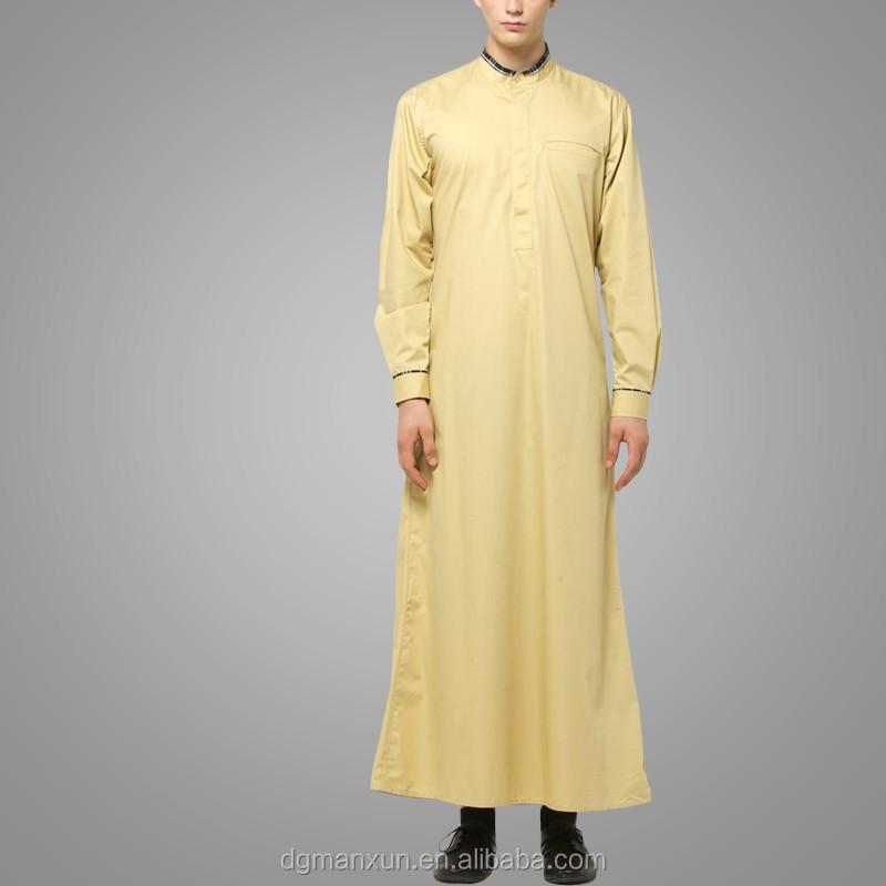 Mens Thobe Islamic Clothing with  X Series Light Gold Men Abaya (3).jpg