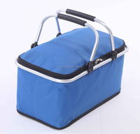 Promotional 100% 600D polyester oxford insulated folding picnic cooler basket foldable cooler bag