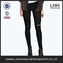 High waist ripped knee sexy cotton and spendex jeans for women