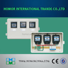 Three-phase outdoor electrical meter housing