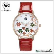 stainless steel case genuine leather lady fashion women wrist flower watch