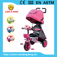 high quality 360 degree rotated children tricycle with best suspension and musical head