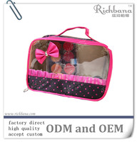 small zipper cosmetic bag with clear pvc window