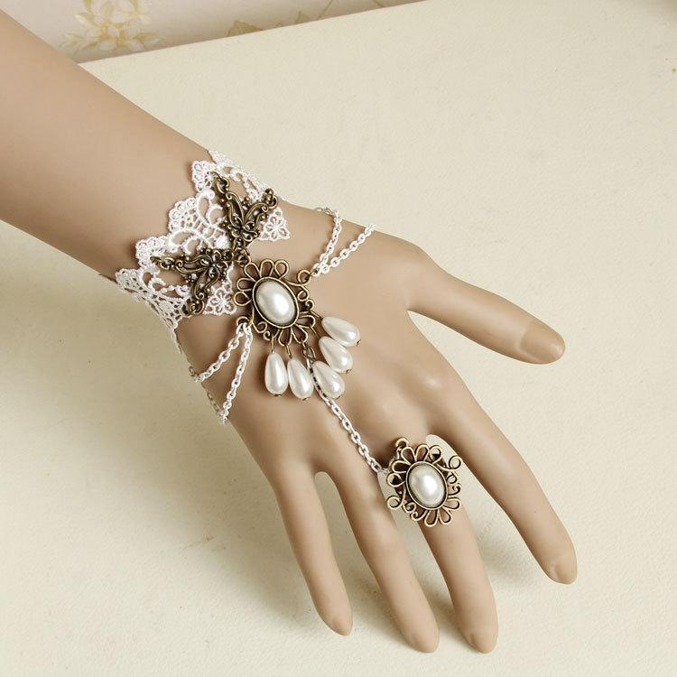Handmade Vintage Lace Slave Bangle Bride Bracelet