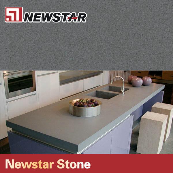 gris cemento materiales de cuarzo cocina encimera