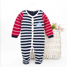 R&H 2015 comfortable cute Custom Stripe Printed baby creeper