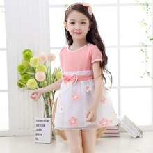 HJL-K1028 Children clothing factory fashion lace kids party wear puffy dress