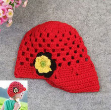 Princess baby lovely hat wholesale red knitted brim hat