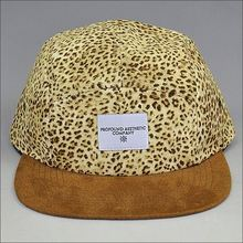 mens corduroy 5 panel cap hat/leopard 5 panel cap