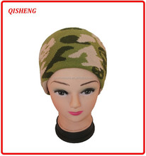 Fashion army green color jacquard men winter hat