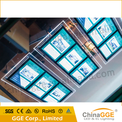 Slim Backlit Acrylic Magnetic Pockets Poster LED Advertising Real Estate Agents Window Display