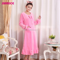 2015 New Wholesale! Autumn Flannel ladies women winter pink nightgown for Pregnant Nursing inquiry now