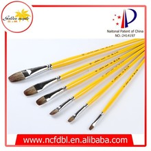 Top Quality Filbert Weasel Hair Long Handle 6 pcs Oil Paintbrush Artist Painting Brush set