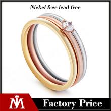 Las mujeres de acero inoxidable Diamond Engagemetn anillos, joyas de cristal cring tricolor