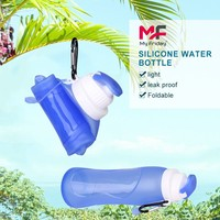 Wholesale good quality soft reusable bpa free silicone portable glass water bottle