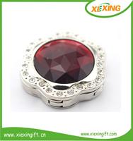 Custom metal red precious stone decorative heart bag hook