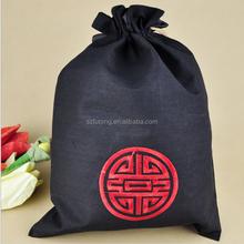 black cotton drawstring bag 5x7 hot stamp