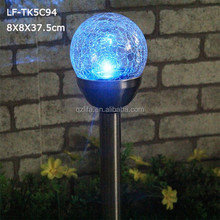 color changing solar garden light with glass ball