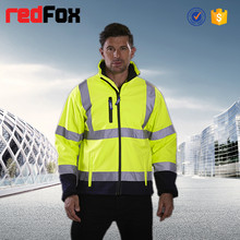 high visibility waterproof breathable softshell jacket