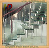 Prefabricated tempered glass tread curved stairs/High quality stainless steel handrails and balustrade design for you(PR-C02)