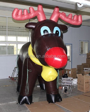 Christmas advertising inflatable animal/deer/cartoon/brown with yellow bell for outdoor/indoor -3m tall W484