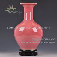2015 Various Oriental Plain Pink Color Ice Crackle Glazed Ceramic Porcelain Decorative Vases