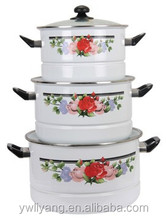 4PCS Enamel Decal Stew Pan Stainless Steel Casserole Steamer Pot