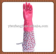 WJ19 different pink dot long cuff househod latex gloves warm longer
