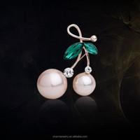 2015 Fashion Rhinestone Brooch Pins,Love Pearl Cherry Leaf Wedding Brooches for Women Corsage Breast Pin Scarf Buckle XZ014