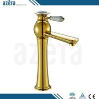 Fancy High Body Brass Golden Bathroom Faucet