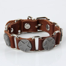 Hot sale fashion star bracelet genuine brown Leather bracelets wristband for men
