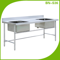 Stainless steel kitchen sink with drain parts, double bowl outdoor sink