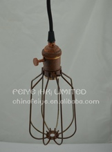 Vintage iron Cage Pendant Lamp/vintage copper socket