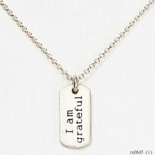 Hot For Woman China Wholesale Website Products Memorial Jewelries Personalized Famous Letter I Am Grateful Necklace